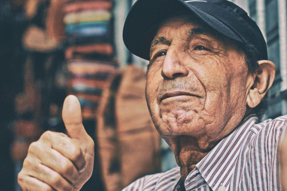 elderly man thumbs up